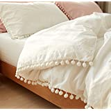 Flber King Duvet Cover White Pom Pom Luxury Cotton Bedding Quilt and Comforter,96 in x 104in