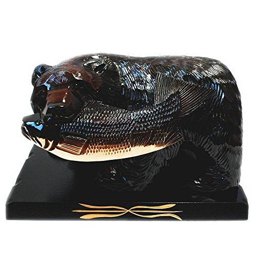 【ノーブランド品】  鮭をくわえた熊の木彫りの置物 【10号】 【K】