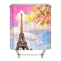 Romantic Paris Eiffel Tower Waterproof Bathing Shower Curtain Liner Anti-Bacterial and Mildew Resistant Polyester Bath Bathroom Washroom Restroom Toilet Curtain Decor with Hooks (180x180, 07)