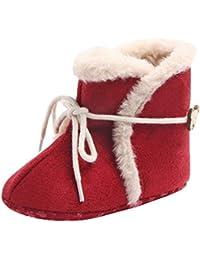 YiyiLai YiyiLai 新生児 ベビーシューズ 防寒 ブーツ ファーストシューズ 女の子 男の子 滑り止め 靴 レッド 11号