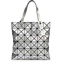 YBE Women Geometric Plaid Bag Folded Madam Casual Tote Top Handle Shoulder Bag Bao