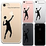 iPhone7 iPhone8 兼用 ハード クリア ケース 保護フィルム付 バドミントン (ブラック)