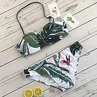 セクシーな女性水着葉プリントビキニセット水着水着背中の開いた女性ビーチウェアパッド入りプッシュアップビキニ