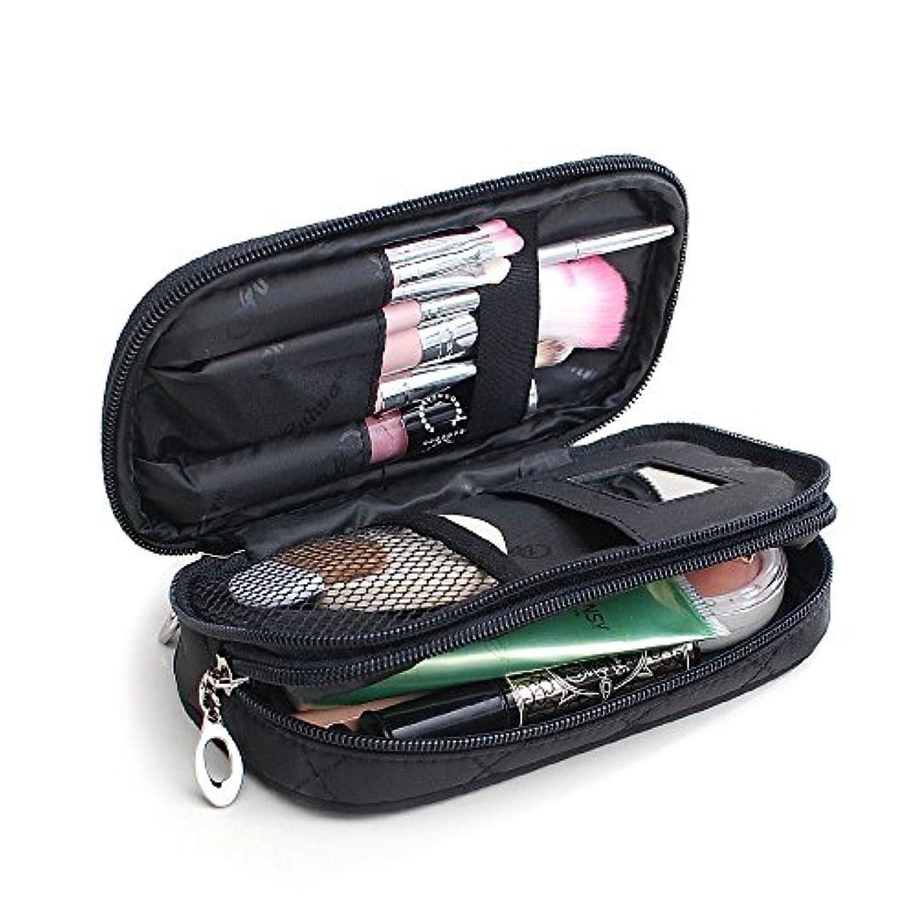 分析的なロールいつかCXYP 化粧ポーチ 化粧品 収納ポーチケース 小物用収納ポーチ バッグ 雑貨 小物入れ 防水 携帯 便利 (ブラック)