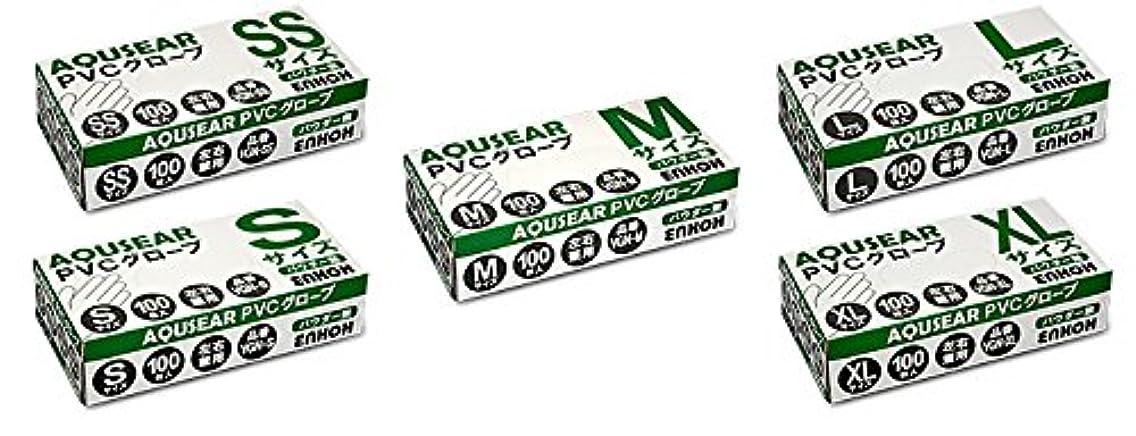 静める協同オーバーランAQUSEAR PVC プラスチックグローブ Mサイズ パウダー無 VGN-M 100枚箱入