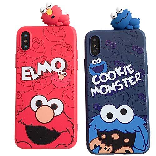 iPhoneXSmax/XR/XS/X/8/7/6対応 セサミストリート エルモとクッキーモンスターの3Dキャラクターが着いている 耐久性が強いスマホケース 021 (iPhone6/6s, エルモ)