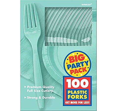 Green Amscan Big Party Pack 100 Count Mid Weight Plastic Forks