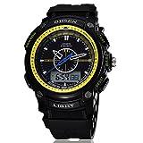[ACI-NBC] 選べる 6 色 OHSEN 腕時計 デジアナ 表示 デジタル アナログ 多機能 ウォッチ LED ライト 防水 ストップウォッチ アラーム スポーツ アウトドア カジュアル メンズ レディース 腕 時計 【 BOX 時計 拭き付 】 (イエロー)