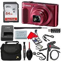Canon PowerShot SX620 HS デジタルカメラ (レッド) 64GB 高速メモリカード+ハンドグリップ三脚+カメラケース+アクセサリーバンドル (11アイテム)