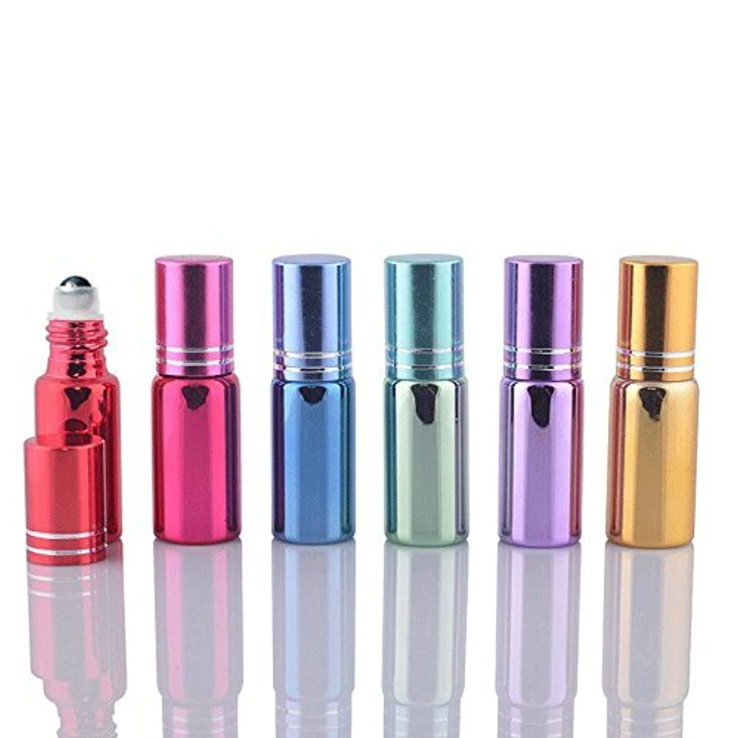 しばしばミサイルを通して6 Sets Assorted 5ml UV Coated Glass Roller Ball Rollon Bottles Grand Parfums Refillable Glass Bottles with Stainless...