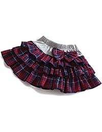 (カエナリエ) Kaenarie 女の子 スカート チェック ネイビー 赤 白 3段 フリル リボン付 ウエストゴム 子供 服 キッズ ジュニア