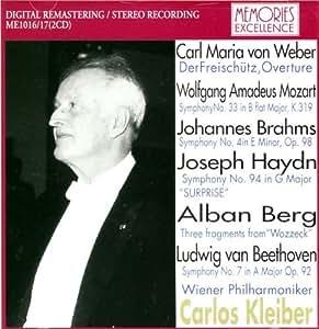 Kleiber Conducts Weber: Der Freischutz Overture; Mozart: Symphony 33; Brahms: Symphony 4 (All 1979 Live) ~ Haydn: Symphony 94; Berg: 'Wozzeck' 3 Fragments and Beethoven: Symphony 7 (All 1982 Live) by N/A (0100-01-01) 【並行輸入品】