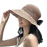 帽子 レディース UVカート KIMEI 日よけ帽子 レディース uv 麦わら帽子 紫外線対策 熱中症予防 つば広い 日よけ ハット あご紐付き 飛ばない 折り畳み収納 サイズ調整テープ 吸汗通気 小顔効果抜群 おしゃれ 可愛い 旅行用 (カーキ)