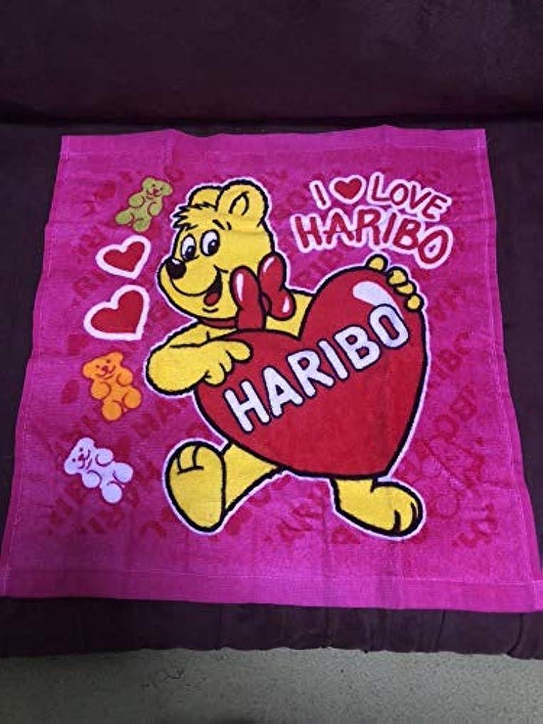 余剰彼女イデオロギーハリボー HARIBO グミ ゴールドベア ハンド タオル 1枚 ピンク