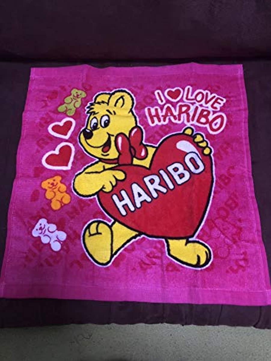 小説家年金反映するハリボー HARIBO グミ ゴールドベア ハンド タオル 1枚 ピンク