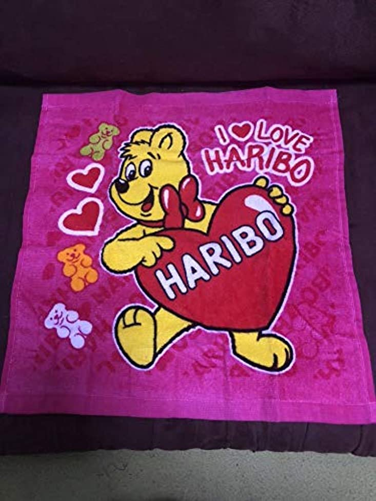 反映する待つダルセットハリボー HARIBO グミ ゴールドベア ハンド タオル 1枚 ピンク