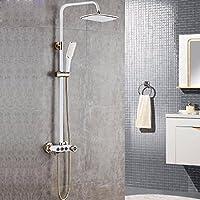 ヨーロッパ式の模造シャワーの花がセットすることができてシャワー機の浴室の全銅の蛇口を昇降することができます,プラチナ