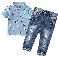 Chumhey Baby Little Boys/Girls Polo Shirt Ripped Slim Jeans Pants Set