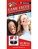 University of Wisconsin (UW) Badgers - Waterless Peel & Stick Temporary Tattoos - 12-Piece Combo - 4 Cardinal W Logo & 4 Bucky Badger Logo Spirit Tattoos & 4 Bucky Badger Logo on Black Eye Strips