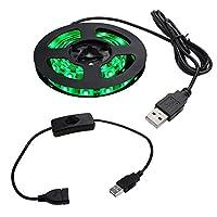 【スイッチ付き】 USB 防水LEDテープライト 1チップ 緑色 150cm + 延長ケーブル 15cm DC5V