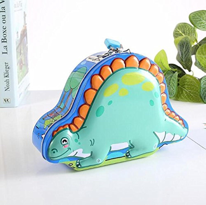 マネー バンク 恐竜ピギーバンクおかしいティンプレート保管ボックス子供ギフト(ブルー)