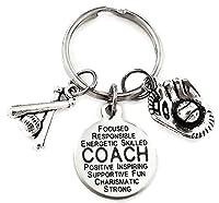 Baseball Coachキーチェーン野球チャーム、ソフトボールコーチキーチェーン、ソフトボール野球キーチェーン、キーチェーン、キーチェーン、ソフトボールチャームキーチェーン、キーリングコーチキーチェーン、野球、ソフトボールキーリング