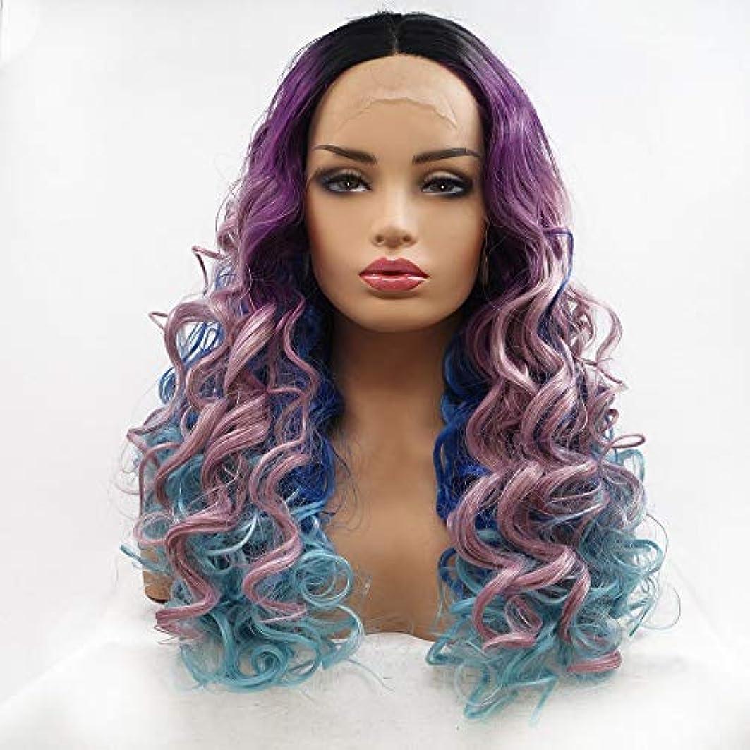 支店漏れする必要があるHAILAN HOME-かつら ウィッグ髪に紫、濃い青 - 青 - 勾配Farseeing髪カーリーヘアウィッグレディース手作りのレースのヨーロッパとアメリカのウィッグセットが生物リアルな換気を設定します。