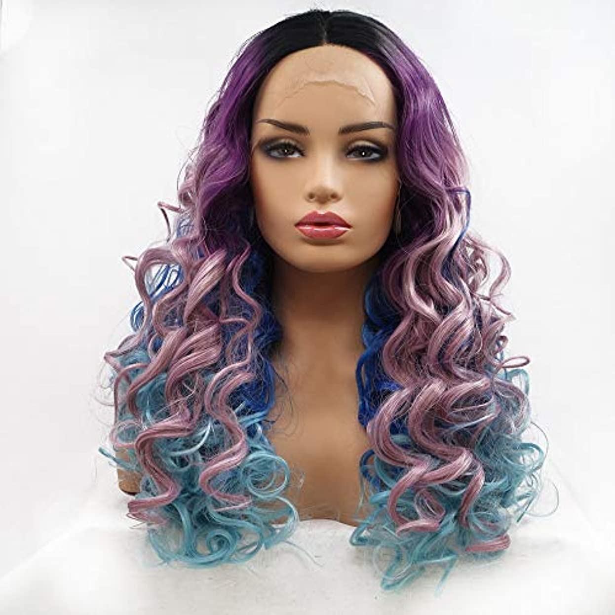 レモン制限された季節HAILAN HOME-かつら ウィッグ髪に紫、濃い青 - 青 - 勾配Farseeing髪カーリーヘアウィッグレディース手作りのレースのヨーロッパとアメリカのウィッグセットが生物リアルな換気を設定します。