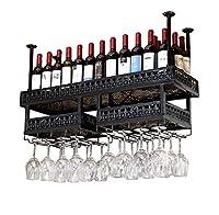 高級ワインラック金属鉄ワインストレージシェルフ天井壁掛けワインステムウェアラックワインボトルホルダーブラック (色 : 120cm)