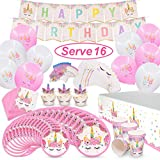 Pawliss 145ct Unicorn Birthday Party Decorations Supplies Kit, Favor Boxes, Candles Balloons, Cupcake Toppers, Knifes Forks Spoons Plates, Napkins Straws, Invitation Cards, Banners, Bulk Pack Serves10