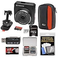 Transcend DrivePro 2001080pフルHDビデオレコーダー車ダッシュボード粘着剤マウントwith 64GBカード+ケース+カードリーダー+クリーニングクロス+キット
