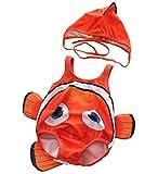 CXYP 水着 キッズ ベビー水着 2点セット 赤ちゃん サカナ 可愛い キャップ 3D 男の子 女の子 85 90 100 海 温泉 記念写真 (85-95cm, レッド)