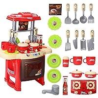 autolover Kidsキッチンおもちゃシミュレーション、キッチンキッチン調理器具ロールPretend Play Toy withミュージックライト レッド LYSB01M4RVEJA-TOYS