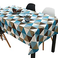 幾何柄 テーブルクロス コットンリネン 長方形 テーブルマット ディナー パーティー インテリア, 140x180cm, ブルー