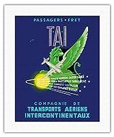 TAI (航空輸送Intercontinentaux) - 貨物旅客 - フランス、アフリカ、アジア間の航空路の宛先 - ビンテージな航空会社のポスター によって作成された W. ペラ1950's - キャンバスアート - 41cm x 51cm キャンバスアート(ロール)