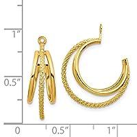 14K黄色ゴールド&ツイストトリプルフープイヤリングジャケット(0.8in X 0.7in)