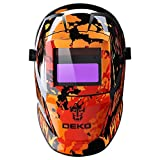 自動遮光液晶溶接面 自動感光式溶接マスク 自動フィルター  ワイドビュータイプ 遮光速度.00003秒 ソーラー充電式溶接マスク/ 溶接ヘルメット 遮光度#9〜#13可変 赤い
