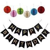 誕生日装飾 ペーパーフラワー おしゃれ 華やかな 祝日 パーティー飾り付け  Happy Birthday ペーパーバナー (ブラック)