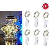 HOMELED ムーンライト 20 Micro Starry LED シルバーワイヤー付き 7フィート 結婚式/パーティー/テーブル装飾用 6個パック Button power H0SL001-1