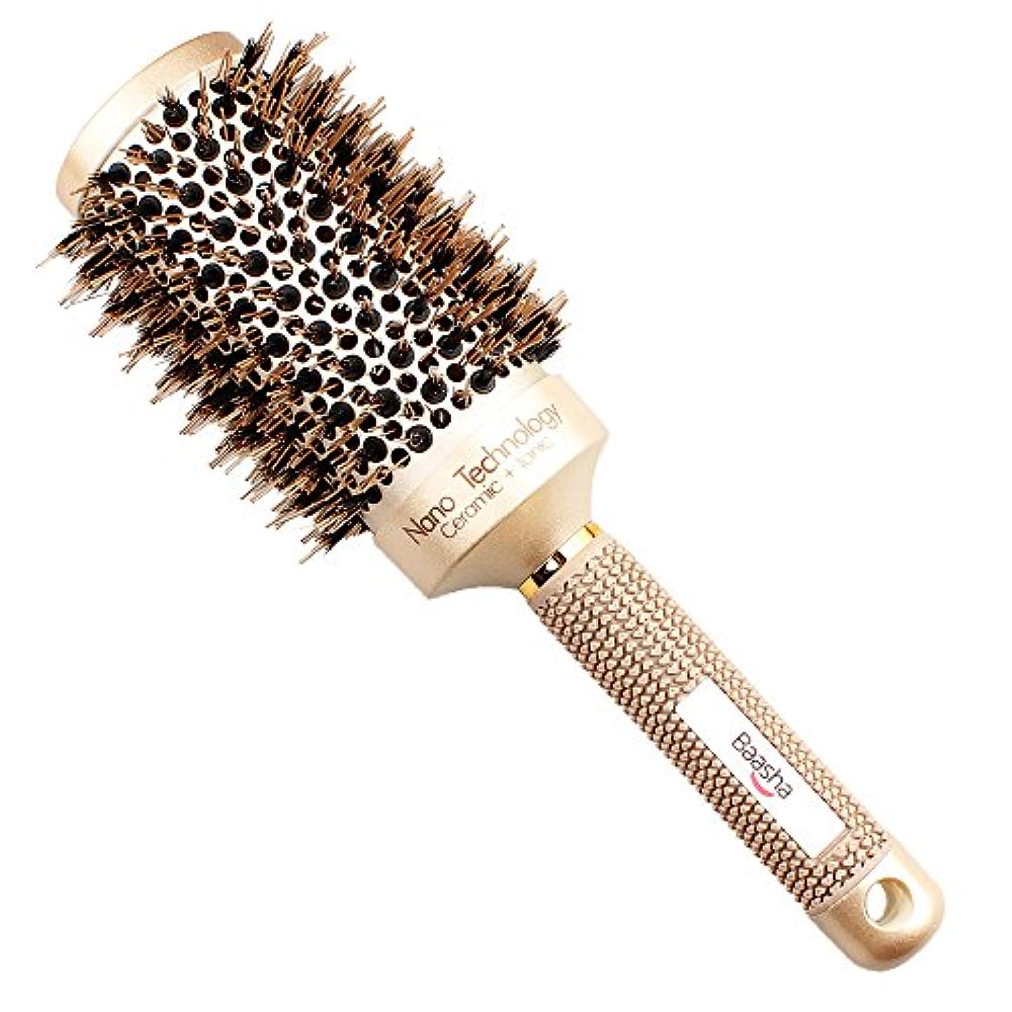 楽しませる小麦粉上流のBaashaヘアブラシ ロールブラシ ヘアケアブラシ 櫛 コーム スタイリング ブラシ カール 巻き髪 豚毛
