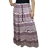 Womens Free Falling Skirt Miriam Purple Flowy Printed Cotton Long Skirts Large
