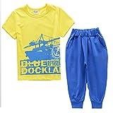 M2C キッズ ベビー服 上下セット 半袖トップス tシャツ ショートパンツ セットアップ 帆船柄 男の子 男児 夏着 可愛い(イェロー、120cm)