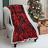 シェルパスローブランケット、スーパーソフトフリースぬいぐるみソファソファブランケット、テレビベッドブランケット、快適な居心地の良いふわふわ暖かい、クリスマステーマスロー、 120X150