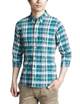 7/10 Sleeve Madras Buttondown Shirt 1216-149-0845: Kelly