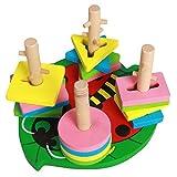 Linshop ファンシーな幾何学的マッチングブロックの3次元ジグソーパズル- 3歳の子供の木のおもちゃ