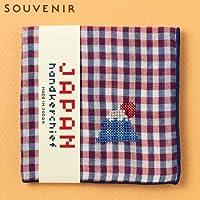 JAPANステッチハンカチーフフジサン刺繍入りガーゼハンカチスーベニール京都Japanese pattern embroidered gauze handkerchief