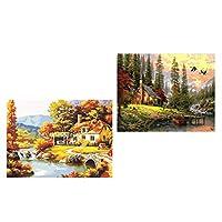 FLAMEER 数字キットペイント DIY数字油絵 キャンバス油絵 デジタル油絵 フレームレス 2ピースセット