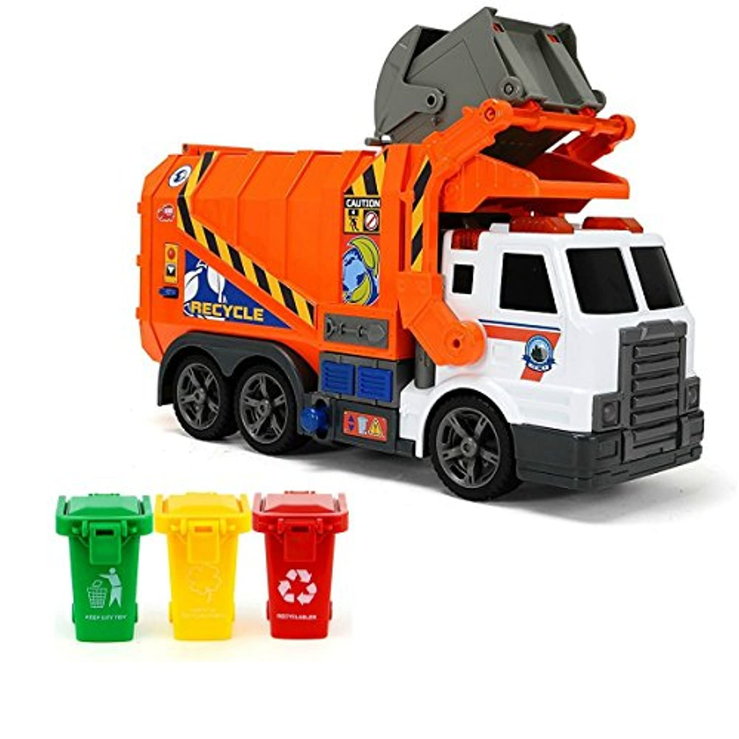 DickieおもちゃGarbage Truck &おもちゃGarbage缶セット: Dickie ToysライトとサウンドGarbage Truck with 3 aitingおもちゃGarbage缶レッド、グリーン、イエロー