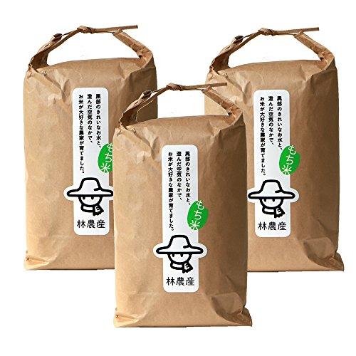 【もち米 玄米】富山県 林農産のもち米 新大正もち 30kg (10kg×3袋) 令和元年度産