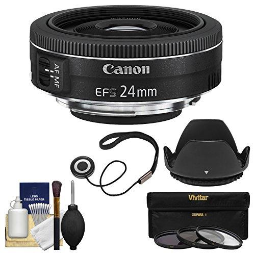 Canon EF-S 24mm f/2.8 STM 広角レンズ フィルター3枚 + フード付き + キット EOS 6D, 70D, 7D 5D Mark II III, Rebel T3, T3i, T4i, T5, T5i, SL1 デジタル一眼レフカ